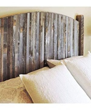 Modern Farmhouse Style Arched Queen Size Bed Headboard With Narrow Weathered Reclaimed Wood Slats Rustic Contemporary Country Bedroom Furniture Sets All BarnWood WLegs 0 300x360