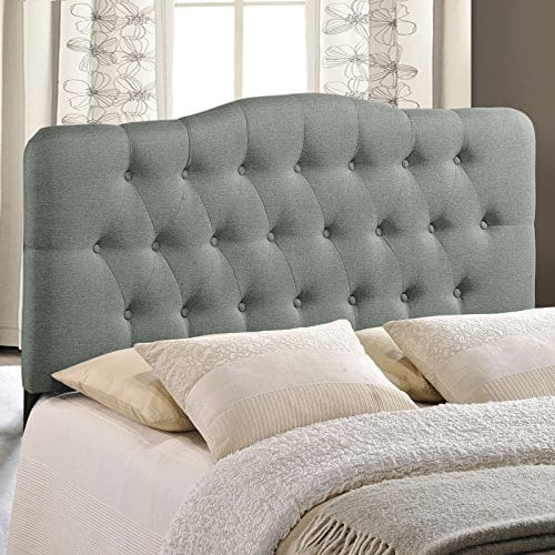 Modway Annabel Tufted Button Linen Fabric Upholstered King Headboard In Gray 0 2