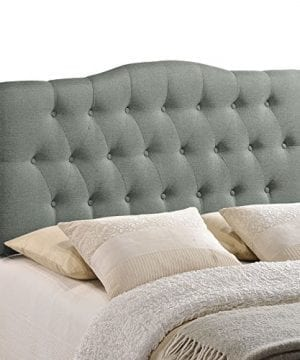 Modway Annabel Tufted Button Linen Fabric Upholstered King Headboard In Gray 0 300x360