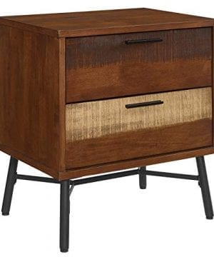 Modway Arwen Rustic Modern Wood 2 Drawer Bedroom Nightstand In Walnut 0 300x360