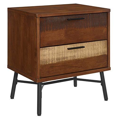 Modway Arwen Rustic Modern Wood 2 Drawer Bedroom Nightstand In Walnut 0