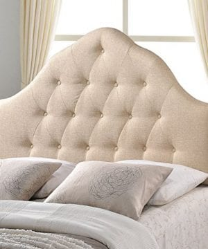 Modway Sovereign Tufted Button Linen Fabric Upholstered King Headboard In Beige 0 300x360