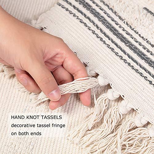Moroccan Bathroom Rugs Small Fringe Rug Tribal Rug 2x3 Woven Boho Bath Mat Tassels 0 2