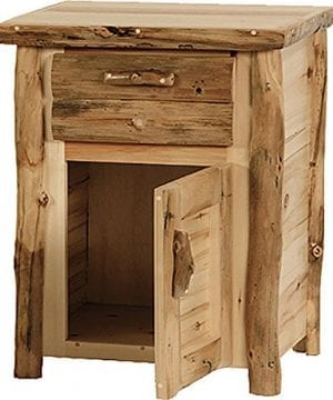 Mountain Woods Furniture Rustic Arts Collection 1 Drawer 1 Door Nightstand BeeswaxLinseed Oil Finish 0 300x360