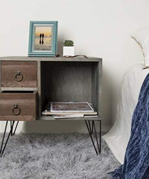 MyGift Vintage Gray Wood NightstandSide Table With 2 Drawers And Open Cabinet 0 0 300x360