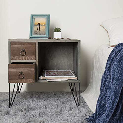 MyGift Vintage Gray Wood NightstandSide Table With 2 Drawers And Open Cabinet 0 0