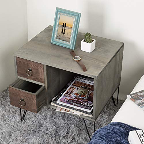 MyGift Vintage Gray Wood NightstandSide Table With 2 Drawers And Open Cabinet 0 1