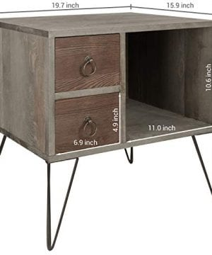 MyGift Vintage Gray Wood NightstandSide Table With 2 Drawers And Open Cabinet 0 2 300x360