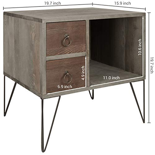 MyGift Vintage Gray Wood NightstandSide Table With 2 Drawers And Open Cabinet 0 2
