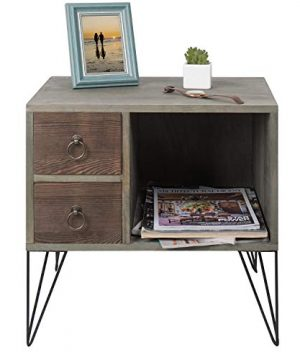 MyGift Vintage Gray Wood NightstandSide Table With 2 Drawers And Open Cabinet 0 3 300x360