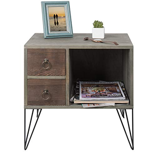 MyGift Vintage Gray Wood NightstandSide Table With 2 Drawers And Open Cabinet 0 3