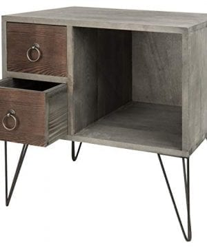 MyGift Vintage Gray Wood NightstandSide Table With 2 Drawers And Open Cabinet 0 300x360