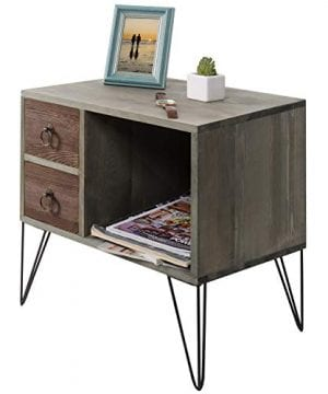 MyGift Vintage Gray Wood NightstandSide Table With 2 Drawers And Open Cabinet 0 4 300x360