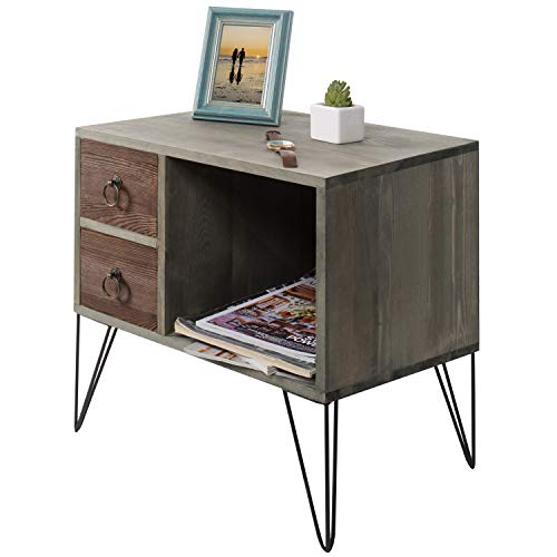 MyGift Vintage Gray Wood NightstandSide Table With 2 Drawers And Open Cabinet 0 4
