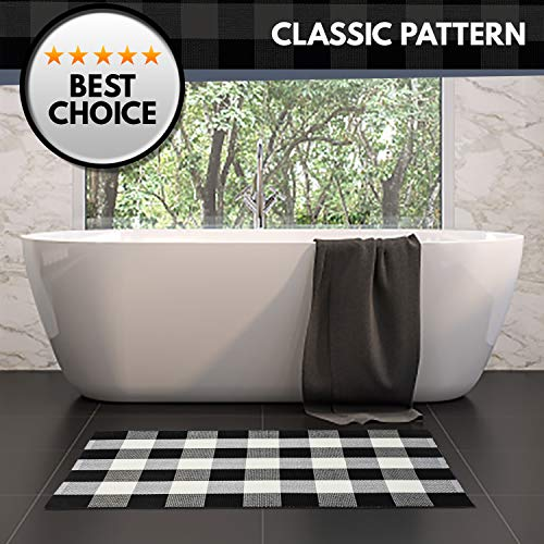 NANTA Cotton Buffalo Plaid Check Rug 275 X 43 Inches Washable Woven Outdoor Rugs For Layered Door Mats PorchKitchenFarmhouse Black And White 0 0
