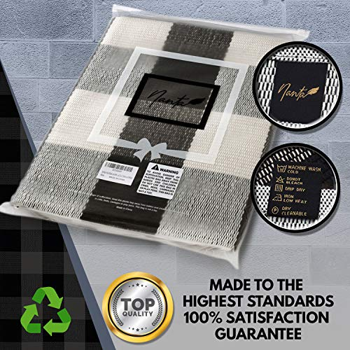 NANTA Cotton Buffalo Plaid Check Rug 275 X 43 Inches Washable Woven Outdoor Rugs For Layered Door Mats PorchKitchenFarmhouse Black And White 0 3