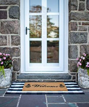 NANTA Cotton Buffalo Plaid Check Rug 275 X 43 Inches Washable Woven Outdoor Rugs For Layered Door Mats PorchKitchenFarmhouse Black And White 0 4 300x360