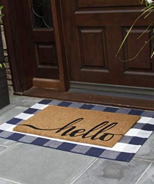 NANTA Navy Blue And White Cotton Buffalo Plaid Check Rug 275 X 43 Inches Washable Woven Outdoor Rugs For Layered Door Mats PorchKitchenFarmhouse 0 0 300x360