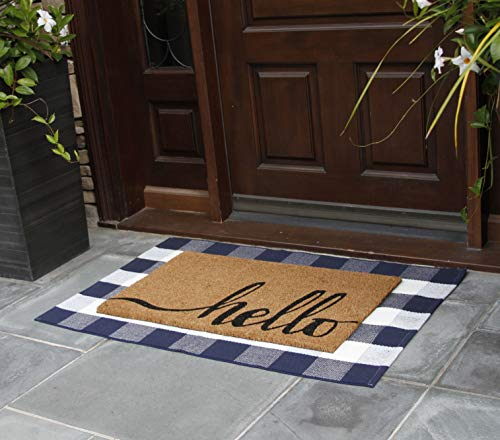 NANTA Navy Blue And White Cotton Buffalo Plaid Check Rug 275 X 43 Inches Washable Woven Outdoor Rugs For Layered Door Mats PorchKitchenFarmhouse 0 0