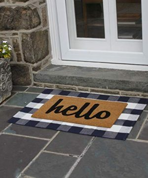 NANTA Navy Blue And White Cotton Buffalo Plaid Check Rug 275 X 43 Inches Washable Woven Outdoor Rugs For Layered Door Mats PorchKitchenFarmhouse 0 1 300x360