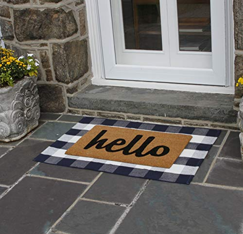 NANTA Navy Blue And White Cotton Buffalo Plaid Check Rug 275 X 43 Inches Washable Woven Outdoor Rugs For Layered Door Mats PorchKitchenFarmhouse 0 1