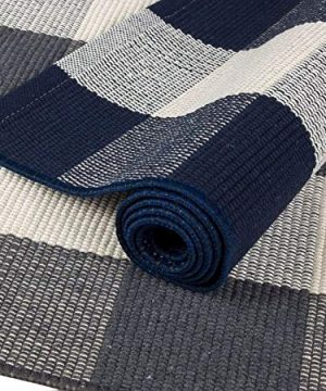 NANTA Navy Blue And White Cotton Buffalo Plaid Check Rug 275 X 43 Inches Washable Woven Outdoor Rugs For Layered Door Mats PorchKitchenFarmhouse 0 2 300x360