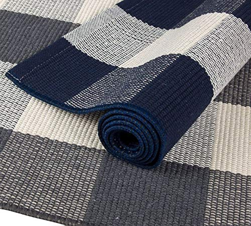 NANTA Navy Blue And White Cotton Buffalo Plaid Check Rug 275 X 43 Inches Washable Woven Outdoor Rugs For Layered Door Mats PorchKitchenFarmhouse 0 2