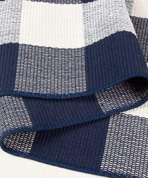 NANTA Navy Blue And White Cotton Buffalo Plaid Check Rug 275 X 43 Inches Washable Woven Outdoor Rugs For Layered Door Mats PorchKitchenFarmhouse 0 3 300x360