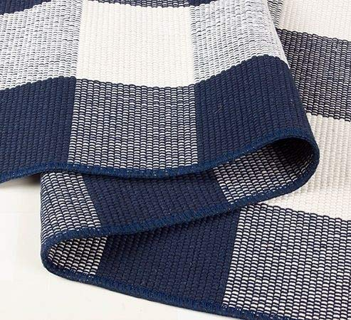 NANTA Navy Blue And White Cotton Buffalo Plaid Check Rug 275 X 43 Inches Washable Woven Outdoor Rugs For Layered Door Mats PorchKitchenFarmhouse 0 3