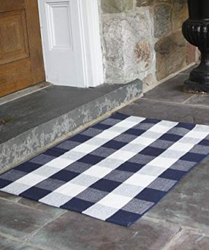 NANTA Navy Blue And White Cotton Buffalo Plaid Check Rug 275 X 43 Inches Washable Woven Outdoor Rugs For Layered Door Mats PorchKitchenFarmhouse 0 300x360