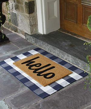 NANTA Navy Blue And White Cotton Buffalo Plaid Check Rug 275 X 43 Inches Washable Woven Outdoor Rugs For Layered Door Mats PorchKitchenFarmhouse 0 4 300x360