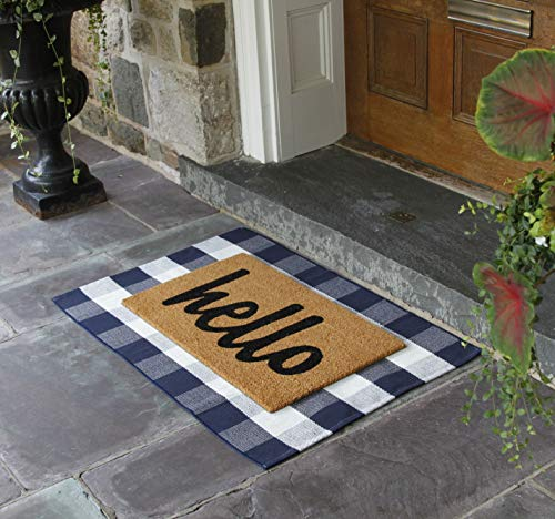 NANTA Navy Blue And White Cotton Buffalo Plaid Check Rug 275 X 43 Inches Washable Woven Outdoor Rugs For Layered Door Mats PorchKitchenFarmhouse 0 4