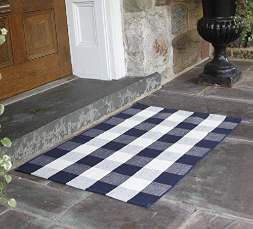 NANTA Navy Blue And White Cotton Buffalo Plaid Check Rug 275 X 43 Inches Washable Woven Outdoor Rugs For Layered Door Mats PorchKitchenFarmhouse 0