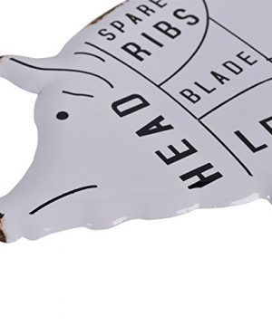 NIKKY HOME Rustic Pig Pork Cut Butchers Chart Farmhouse Or Farm Decor Wall Plaque White 0 2 300x360