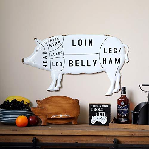 NIKKY HOME Rustic Pig Pork Cut Butchers Chart Farmhouse Or Farm Decor Wall Plaque White 0 4