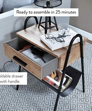 Nathan James 32501 Hugo Nightstand Accent Rustic Wood Table With Drawer BrownBlack 0 3 300x360