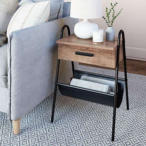 Nathan James 32501 Hugo Nightstand Accent Rustic Wood Table With Drawer BrownBlack 0