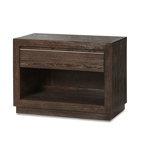 Nightstand Brown Modern Contemporary Rubberwood Wood Finish 0 0
