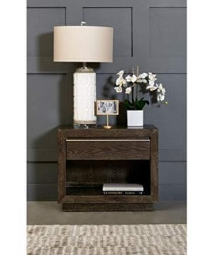 Nightstand Brown Modern Contemporary Rubberwood Wood Finish 0 300x360
