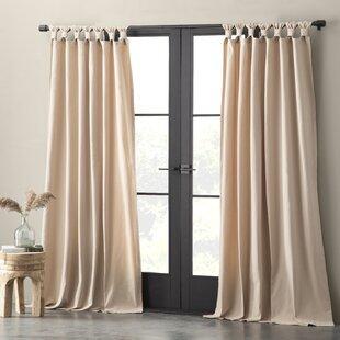 Nolan Washed Casual Solid Semi Sheer Tab Top Single Curtain Panel
