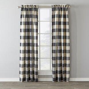 Northridge Plaid Semi Sheer Rod Pocket Single Curtain Panel