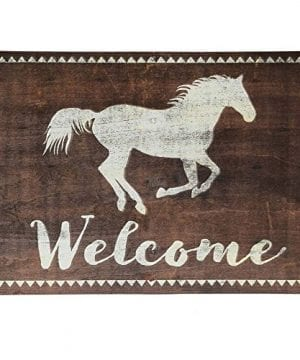 Open Road Brands Brown Welcome Sign With White Running Horse Rustic Tin Metal Wall Art An Officially Licensed Product Great Addition To Add What You Love To Your HomeGarage Decor 0 300x360