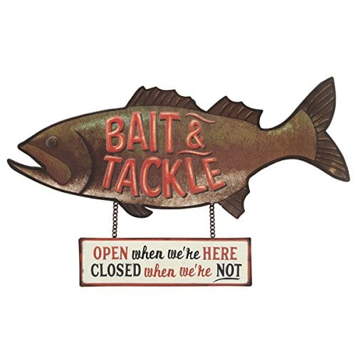 Open Road Brands Fish Bait And Tackle CloseOpen Rustic Tin Metal Wall Art An Officially Licensed Product Great Addition To Add What You Love To Your HomeGarage Decor 0
