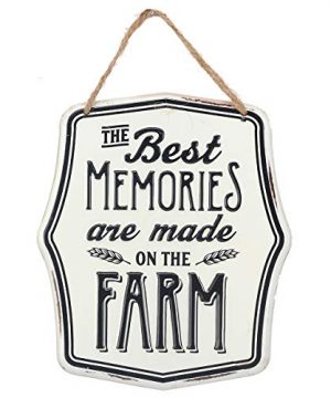 Open Road Brands Memories On The Farm Embossed Metal Sign With Rope 0 300x360