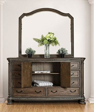 PERSEPHONE Formal Traditional Look Stylish Elegant Majestic Rustic Natural Tone Finish Eastern King Size Bed Matching Dresser Mirror Nightstand Intricate Wood Carving Bedroom 4pc Set 0 3 300x360