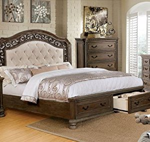 PERSEPHONE Formal Traditional Stylish Elegant Majestic Rustic Natural Tone Finish California King Size Bed W Drawers FB Matching Dresser Mirror Nightstand Intricate Wood Carving Bedroom 4pc Set 0 300x285
