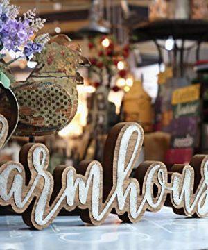Parisloft Rustic Farmhouse Script Cutout Table Top Freestanding Sign 3D Farmhouse Word Art Accent Decor 1575x1x525 0 0 300x360