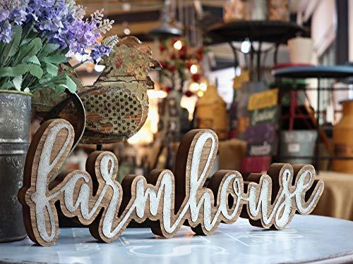 Parisloft Rustic Farmhouse Script Cutout Table Top Freestanding Sign 3D Farmhouse Word Art Accent Decor 1575x1x525 0 0