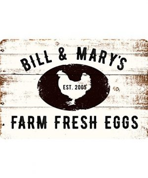 Pattern Pop Personalized Farm Fresh Eggs Rustic Barnwood Look Metal Sign 0 300x360