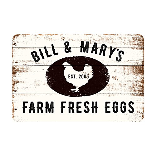 Pattern Pop Personalized Farm Fresh Eggs Rustic Barnwood Look Metal Sign 0